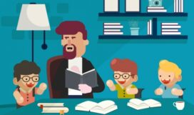 childhood_background_teacher_studying_boys_icons_cartoon_characters_6838562