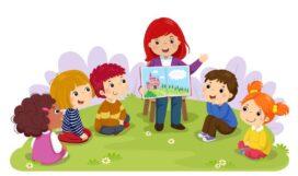 teacher-telling-story-to-nursery-children-garden-vector-illustration-108205532